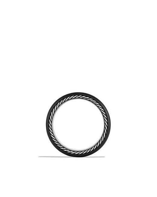 David Yurman | Streamline Narrow Band Ring With Black Diamonds And Black Titanium, 6mm for Men | Lyst