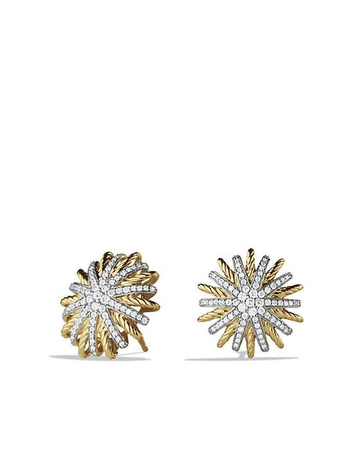 David Yurman | Metallic Starburst Earrings With Diamonds In 18k Gold, 18mm | Lyst