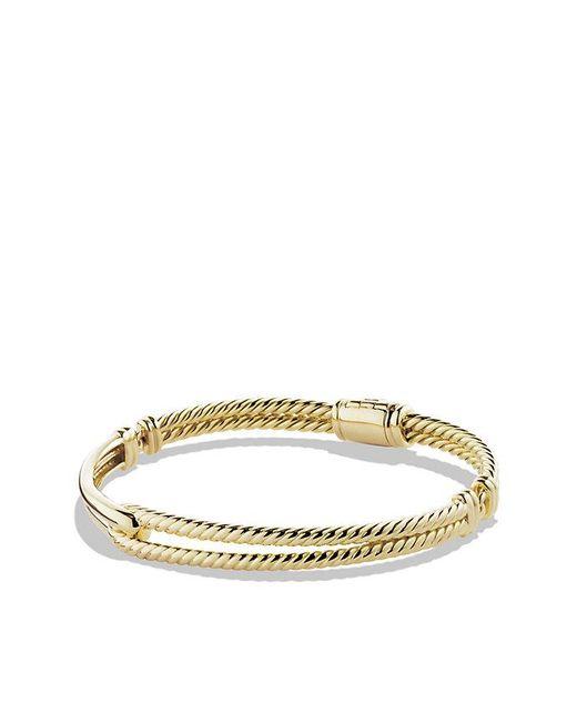 David Yurman - Metallic Petite Pavé Labyrinth Single-loop Bracelet In 18k Gold, 7mm - Lyst