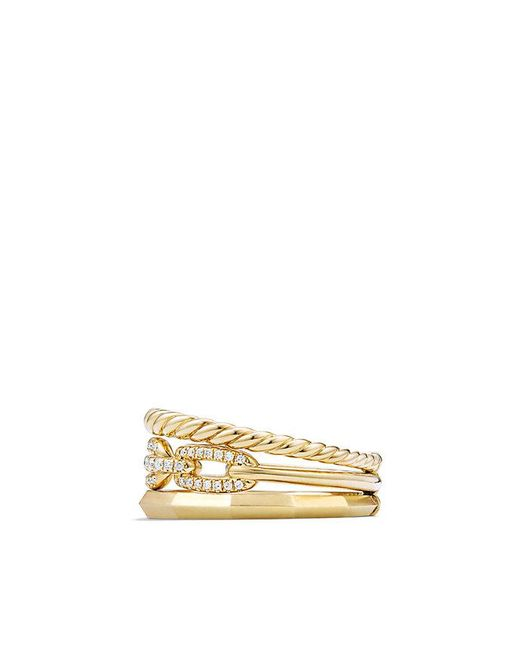 David Yurman - Metallic Stax Narrow Ring With Diamonds In 18k Gold, 9.5mm - Lyst