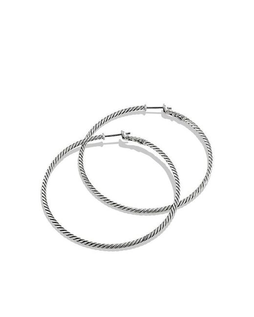David Yurman   Metallic Cable Classics Hoop Earrings   Lyst