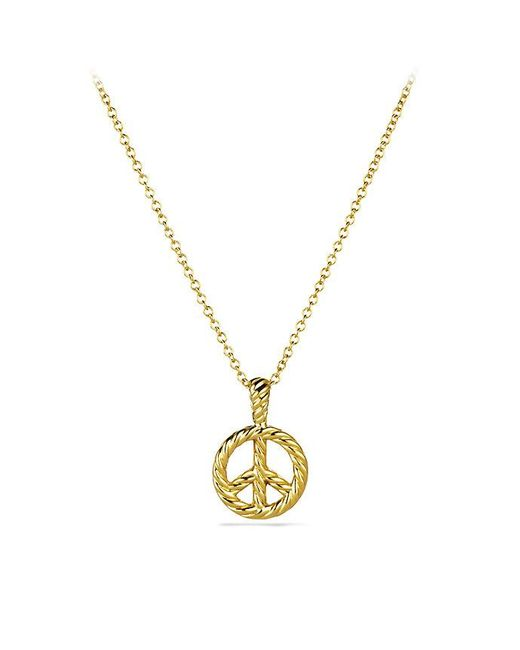 David Yurman | Metallic Cable Collectibles Peace Sign Pendant Necklace With Diamonds In 18k Gold | Lyst
