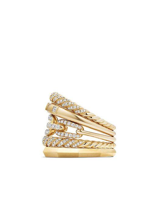 David Yurman - Metallic Stax Five Row Ring With Diamonds In 18k Gold, 21mm - Lyst