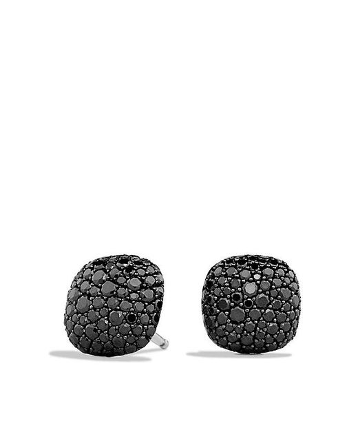 David Yurman | Pavé Earrings With Black Diamonds In 18k White Gold | Lyst