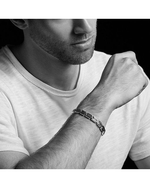 David Yurman | Chevron Link Bracelet With Black Diamonds, 9mm for Men | Lyst