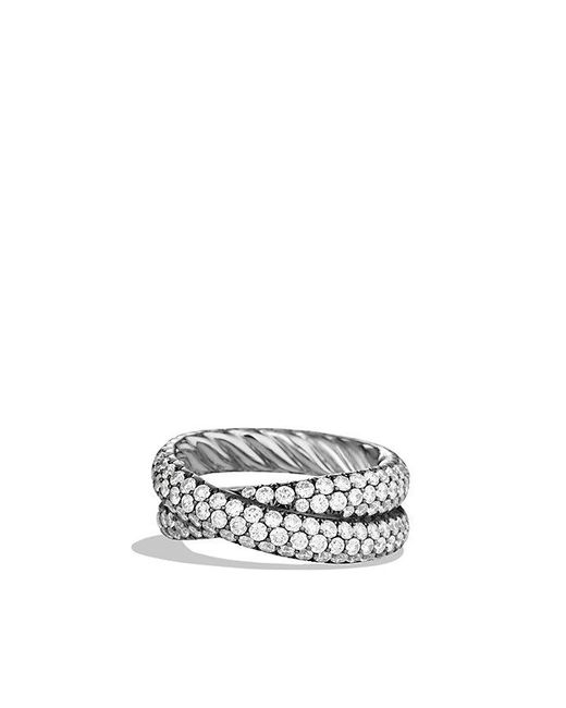 David Yurman | Crossover Ring With Diamonds In 18k White Gold | Lyst