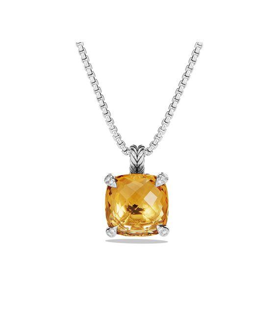 David Yurman - Metallic Châtelaine® Pendant Necklace With Citrine And Diamonds, 14mm - Lyst