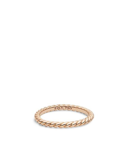 David Yurman - Pink Dy Unity Cable Wedding Band In 18k Rose Gold, 2mm - Lyst