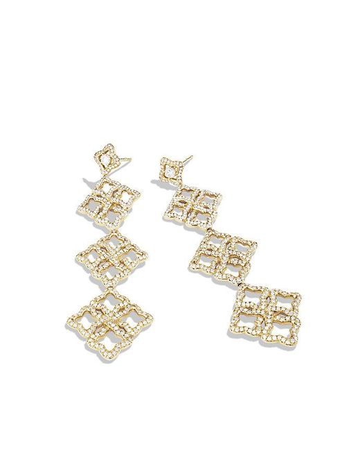 David Yurman - Metallic Venetian Quatrefoil Triple-drop Earrings With Diamonds In 18k Gold - Lyst