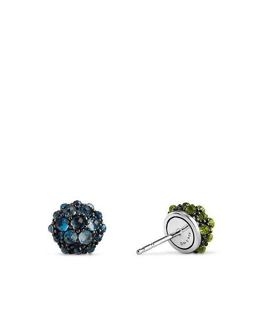 David Yurman - Osetra Stud Earrings With Hampton Blue Topaz And Peridot, 10mm - Lyst