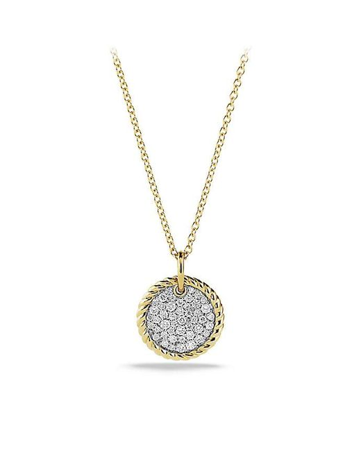 David Yurman - Metallic Cable Collectibles Pavé Charm Necklace With Diamonds In 18k Gold - Lyst