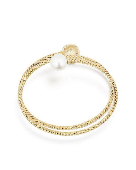David Yurman - Metallic Solari Coil Bracelet With Pearls And Diamonds In 18k Gold - Lyst