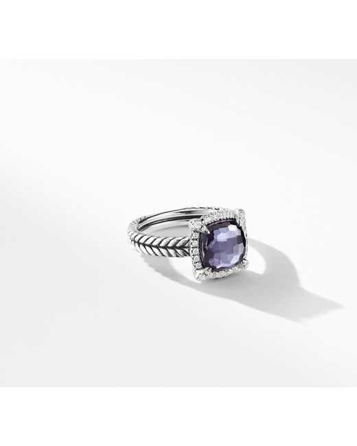 David Yurman - Chatelaine® Pave Bezel Ring With Black Orchid And Diamonds, 9mm - Lyst