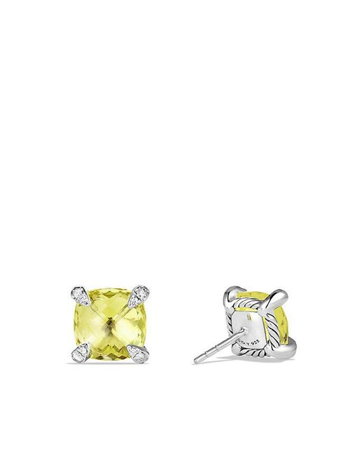 David Yurman - Yellow Châtelaine® Earrings With Lemon Citrine And Diamonds, 9mm - Lyst