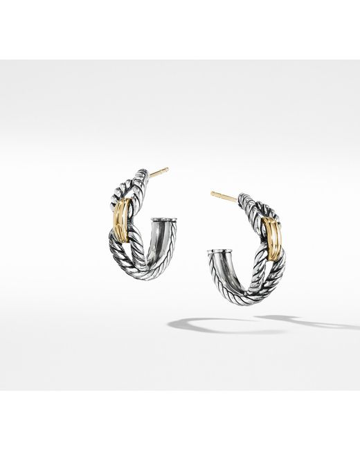 David Yurman - Metallic Cable Loop Hoop Earrings With 18k Gold, 22mm - Lyst
