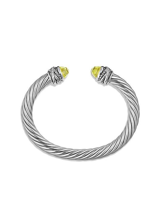 David Yurman | Metallic Cable Classic Crossover Bracelet With Lemon Citrine And Diamonds, 7mm | Lyst