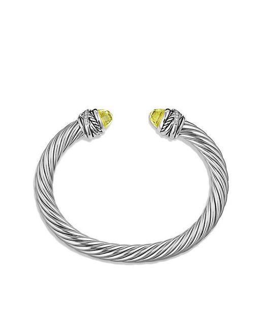 David Yurman   Metallic Cable Classic Crossover Bracelet With Lemon Citrine And Diamonds, 7mm   Lyst