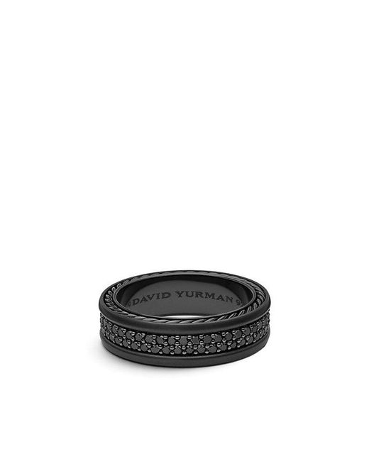 David Yurman | Streamline Two-row Pave Band Ring With Black Diamonds And Black Titanium, 7mm for Men | Lyst