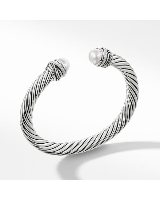 David Yurman - Metallic Cable Classic Crossover Bracelet With Pearls And Diamonds, 7mm - Lyst
