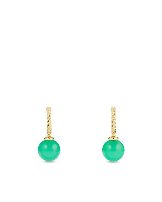 David Yurman | Green Solari Hoop Earrings With Chrysoprase In 18k Gold | Lyst