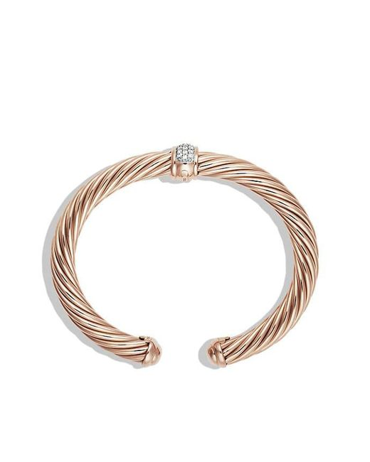 David Yurman - Metallic Cable Classics Bracelet With Diamonds In 18k Rose Gold, 7mm - Lyst