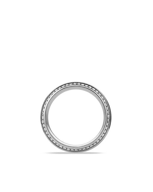 David Yurman | Metallic Knife Edge Band Ring With Diamonds In Platinum, 8mm | Lyst