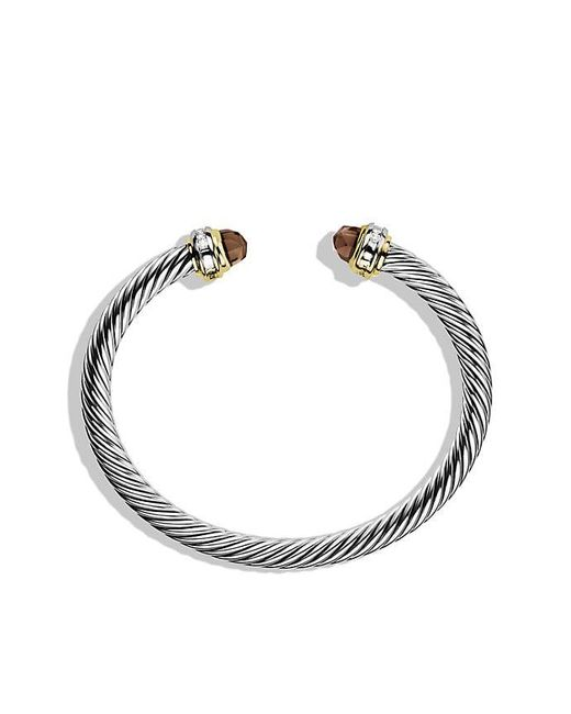 David Yurman | Metallic Cable Classics® Bracelet With Smoky Quartz, Diamonds And 18k Gold, 5mm | Lyst