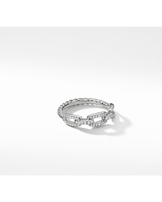 David Yurman - Metallic Stax Single Row Pave Chain Link Ring With Diamonds In 18k White Gold, 4.5mm - Lyst