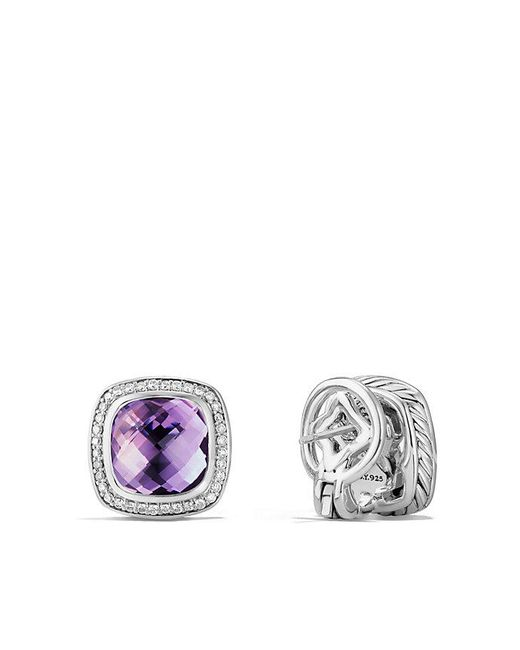 David Yurman | Purple Albion® Earrings With Amethyst And Diamonds, 11mm | Lyst