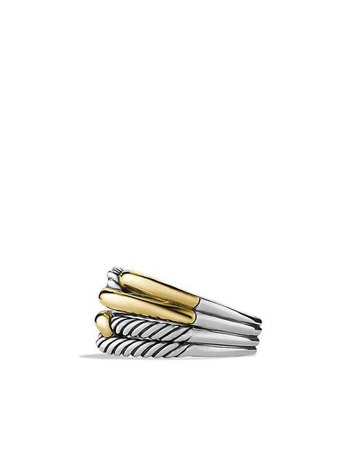 David Yurman | Metallic Labyrinth Double-loop Ring With 18k Gold | Lyst