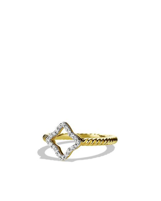 David Yurman | Metallic Cable Collectibles Quartrefoil Ring With Diamonds In 18k Gold | Lyst