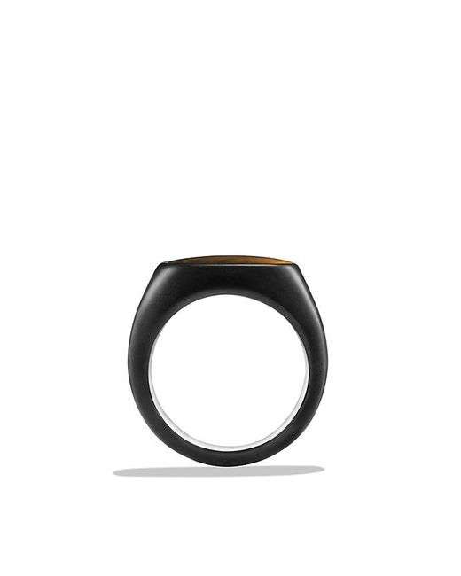 David Yurman | Brown Exotic Stone Signet Ring With Tiger's Eye In Black Titanium for Men | Lyst