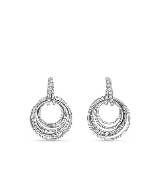 David Yurman - Metallic Crossover Drop Earrings With Diamonds, 30mm - Lyst