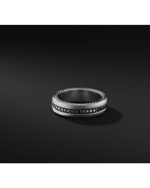 David Yurman - Streamline® Pavé Band In Grey Titanium With Black Diamonds for Men - Lyst