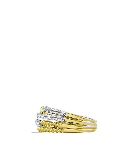 David Yurman - Metallic Labyrinth Double-loop Ring With Diamonds In 18k Gold - Lyst