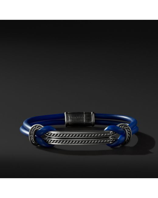 David Yurman - Maritime Rubber Reef Knot Id Bracelet In Blue for Men - Lyst