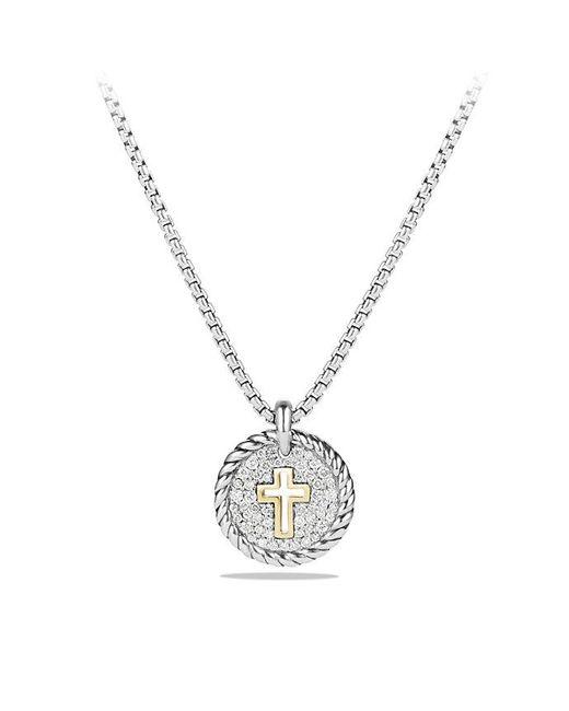David Yurman - Metallic Petite Pave Cross Charm Necklace With Diamonds With 18k Gold - Lyst
