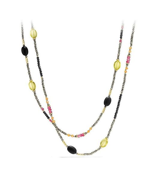 David Yurman - Multicolor Dy Signature Necklace With Pyrite, Pink Tourmaline And Lemon Citrine In 18k Gold - Lyst