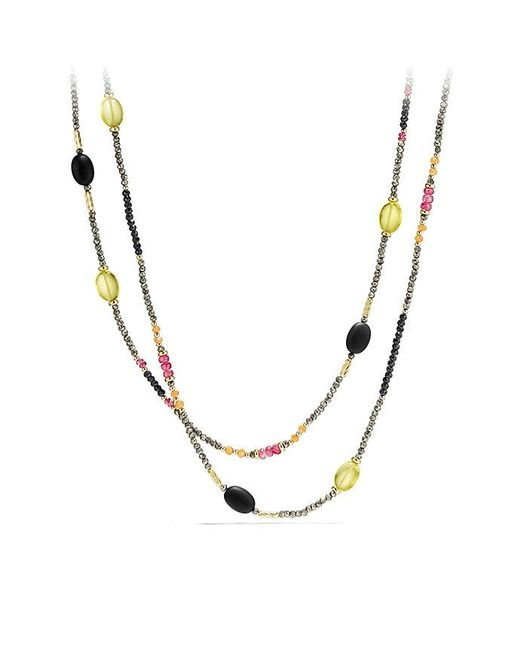 David Yurman - Metallic Dy Signature Necklace With Pyrite, Pink Tourmaline And Lemon Citrine In 18k Gold - Lyst