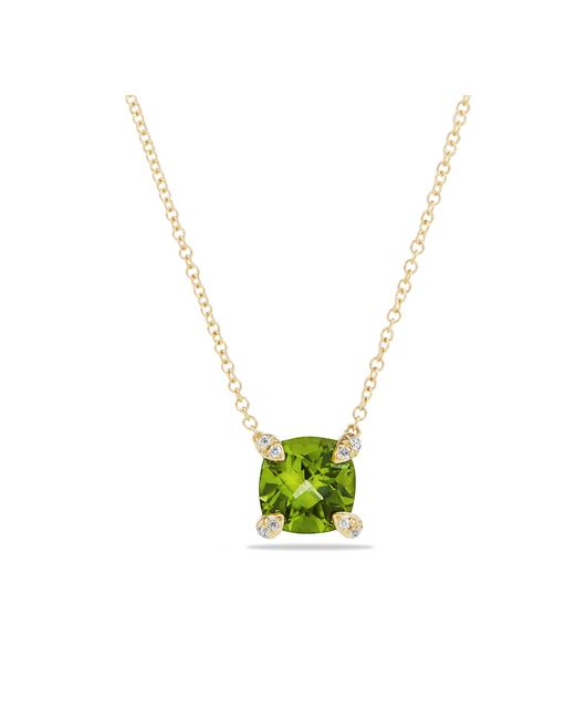 David Yurman - Metallic Châtelaine Pendant Necklace With Peridot And Diamonds In 18k Gold, 7mm - Lyst