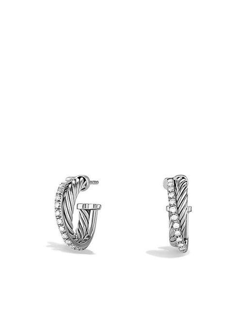 David Yurman | Metallic Crossover Extra-small Hoop Earrings With Diamonds | Lyst
