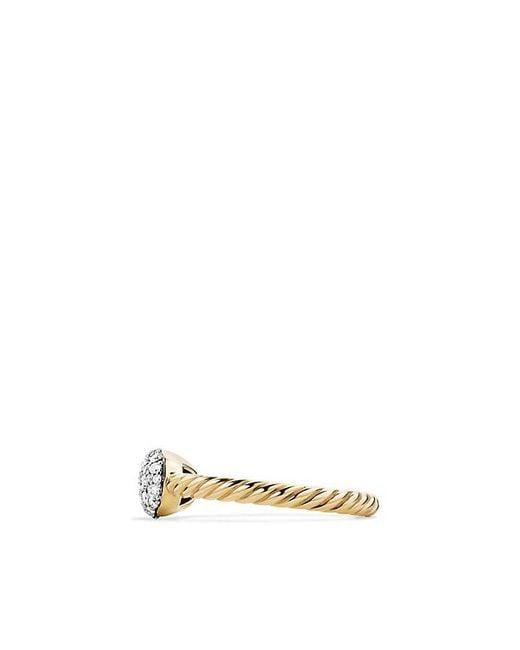 David Yurman | Metallic Petite Pavé Cushion Ring With Diamonds In 18k Gold | Lyst