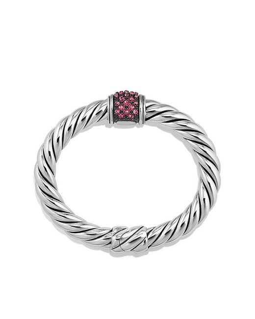 David Yurman - Metallic Osetra Center Station Bracelet With Rhodalite Garnet, 10mm - Lyst