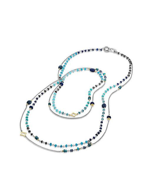 David Yurman | Bijoux Bead Necklace With Lapis Lazuli, Hampton Blue Topaz, Hematine And 18k Gold | Lyst