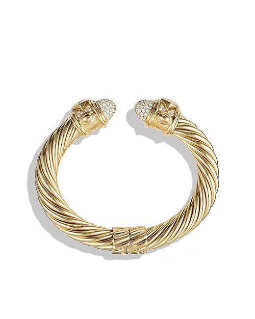 David Yurman | Metallic Renaissance Bracelet With Diamonds In 18k Gold, 10mm | Lyst