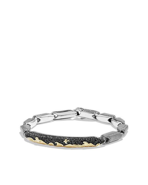 David Yurman - Metallic Pave Id Bracelet With 18k Gold And Black Diamonds for Men - Lyst