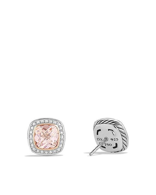 David Yurman | Pink Albion Earrings With Morganite, Diamonds And 18k Rose Gold, 7mm | Lyst