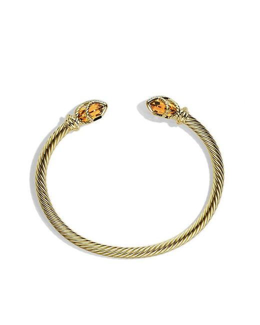 David Yurman | Metallic Cable Wrap Bracelet With Champagne Citrine And Diamonds In 18k Gold | Lyst