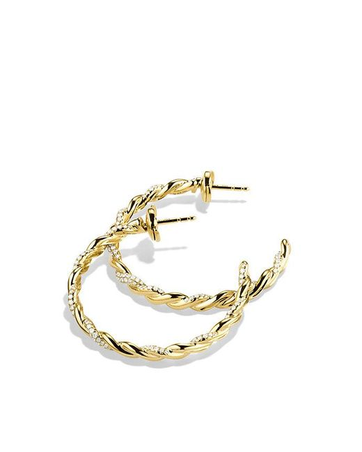 David Yurman - Metallic Wisteria Hoop Earrings With Diamonds In 18k Gold - Lyst