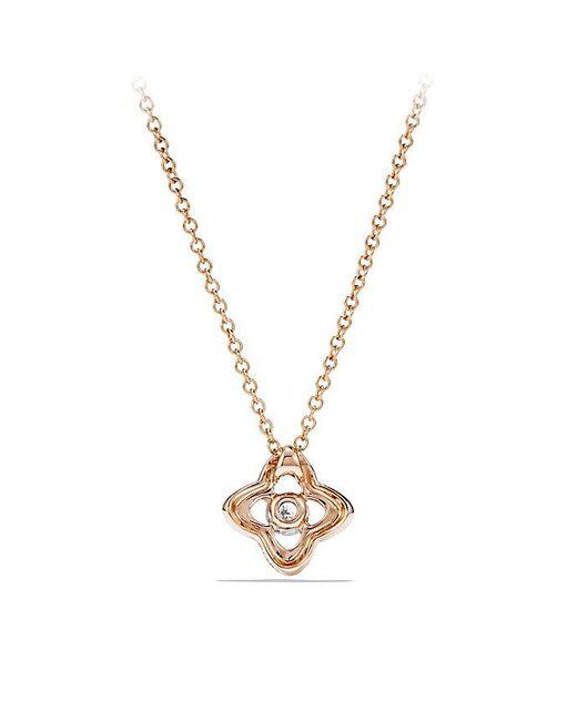 David Yurman - Metallic Venetian Quatrefoil Necklace With Diamonds In 18k Rose Gold - Lyst